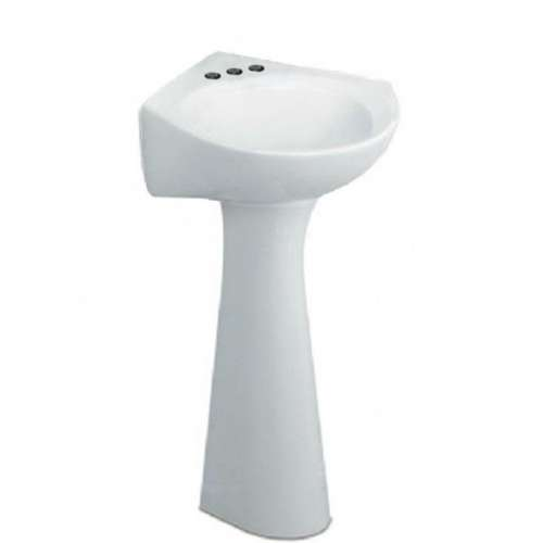 American Standard Cornice 2-Piece Pedestal And Corner Lavatory With 3 Faucet Holes (4 Centers)