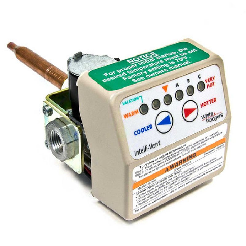 A.O. Smith Residential Gas Valve White Rodgers Gas control for NATURAL gas, 3 1/2in manifold pressure setting. Maximum temperature range 160 Degrees F. (Shank=1.72in)