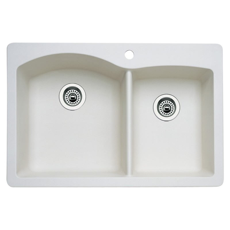 Blanco Diamond 22-In X 33-In Double-Basin Granite Multi-Mount 1-Hole Kitchen Sink