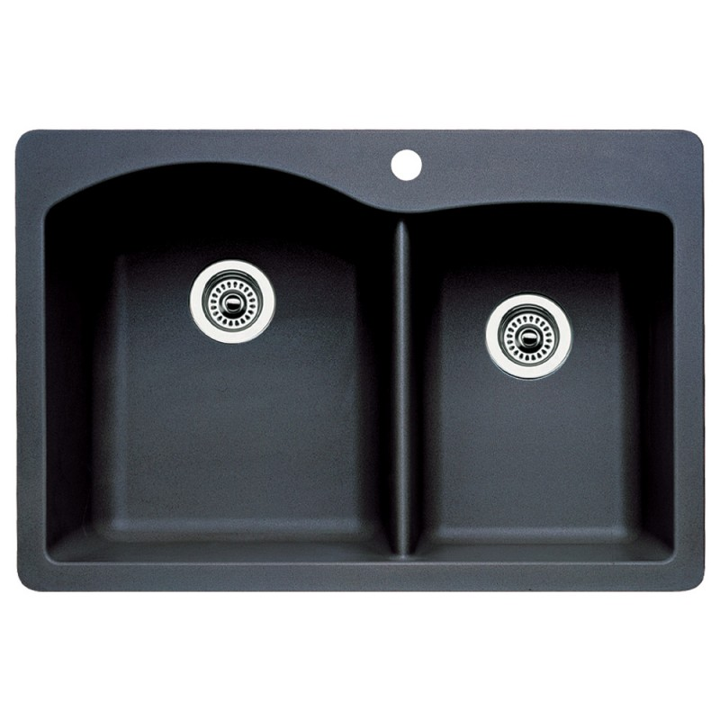 Blanco Diamond 22-In X 33-In Double-Basin Granite Multi-Mount 1-Hole Kitchen Sink
