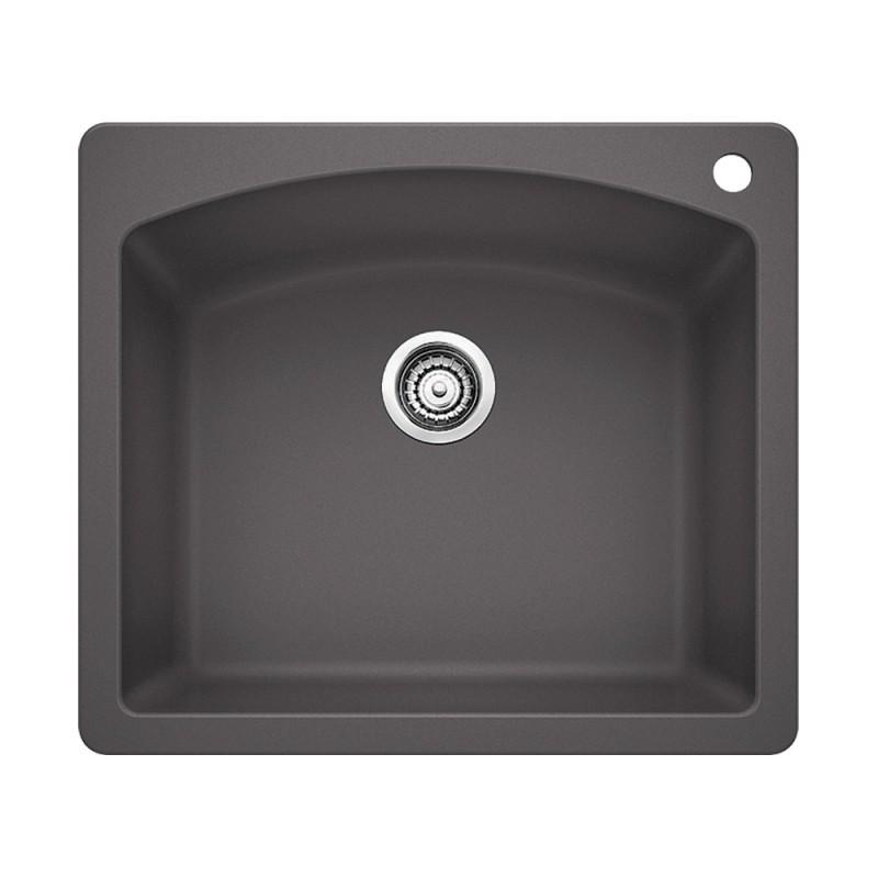 Blanco Diamond 22-In X 25-In Single-Basin Granite Multi-Mount 2-Hole Kitchen Sink