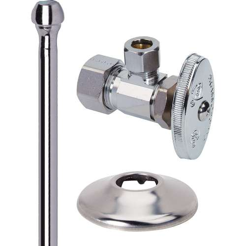1/2 in. Nom Comp x 3/8 in. O.D. Comp Faucet Supply Kit - Multi-Turn Angle Stop, Copper Riser