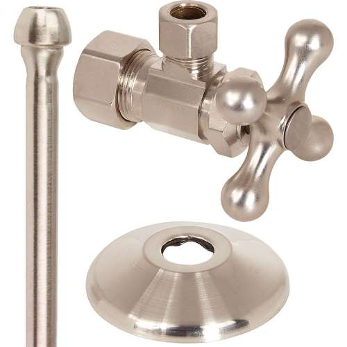 1/2 in. Nom Comp x 3/8 in. O.D. Comp With Shallow Escuthcheon Faucet Supply Kit - 1/4 Turn Ball Angle Stop, Copper Riser