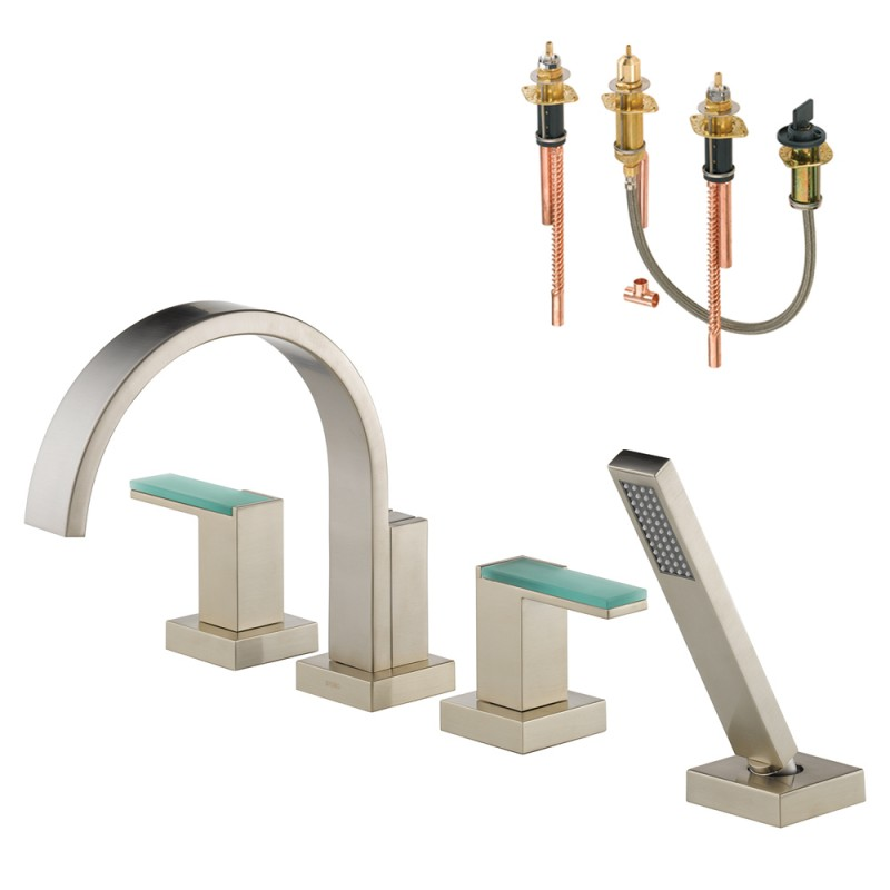 Brizo Siderna Roman Tub Trim Kit With Handles, Green Glass Accents, And Hand Shower