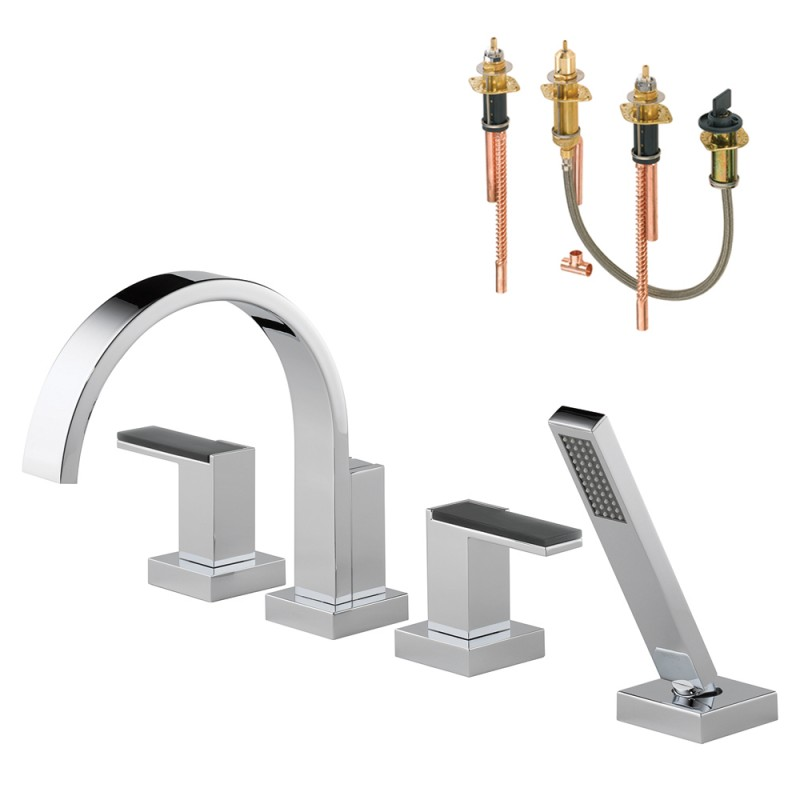 Brizo Siderna Roman Tub Trim Kit With Handles, Solar Gray Glass Accents, And Hand Shower