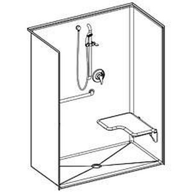 Comfort Designs 62in x 32in x 78in Shower Shell with Center Drain