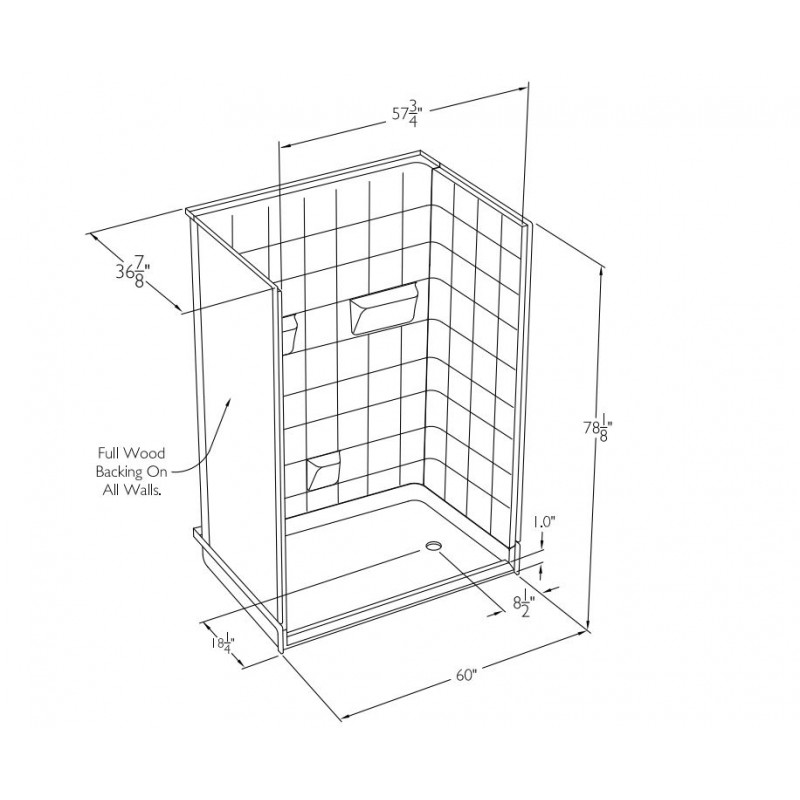 Comfort Designs 60in x 36in x 78in Shower Kit with Left/Right Drain