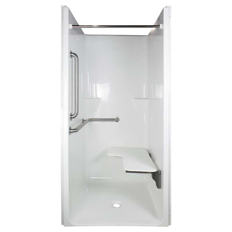 Comfort Designs ADA Compliant - 36in I.D. x 36in I.D. ADA Reinforced Center Drain Transfer Shower Kit with ADA Accessories