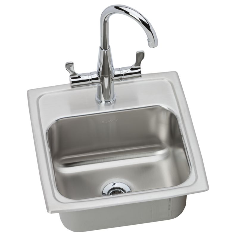 Elkay Gourmet Lustertone Stainless Steel Single-Bowl Top-Mount Sink With Faucet Kit