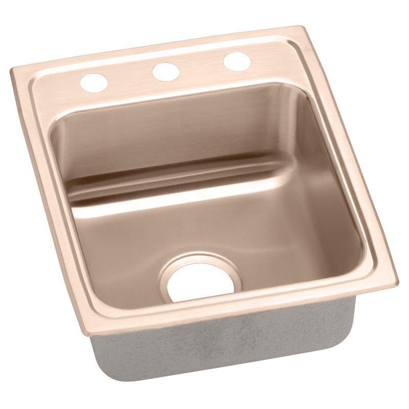 Elkay 15-In Copper 18 Gauge Single-Bowl Drop-In ADA Sink