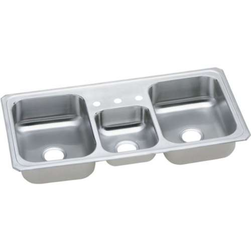 Elkay Celebrity 43-In 20 Gauge Stainless Steel Triple-Bowl Drop-In Kitchen Sink