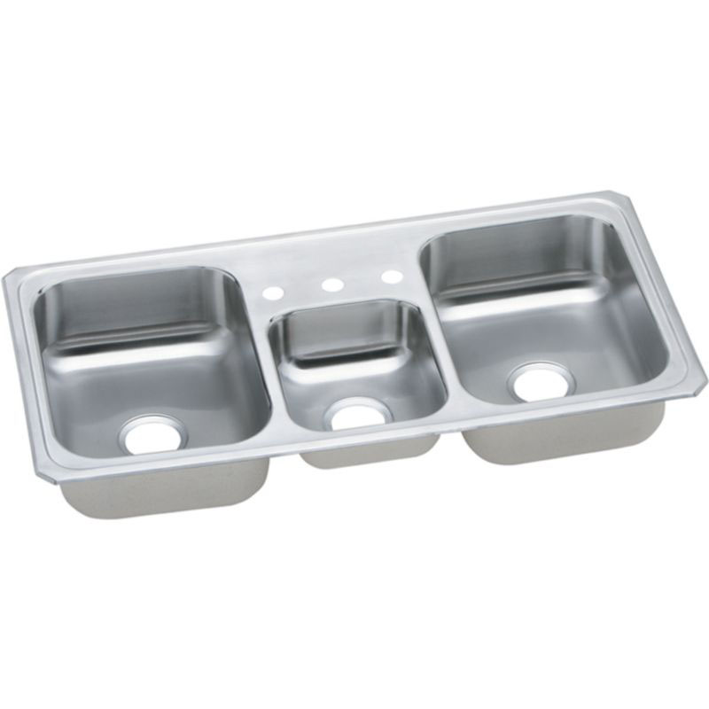 Elkay Celebrity 43-In 20 Gauge Stainless Steel Triple-Bowl Drop-In Kitchen Sink