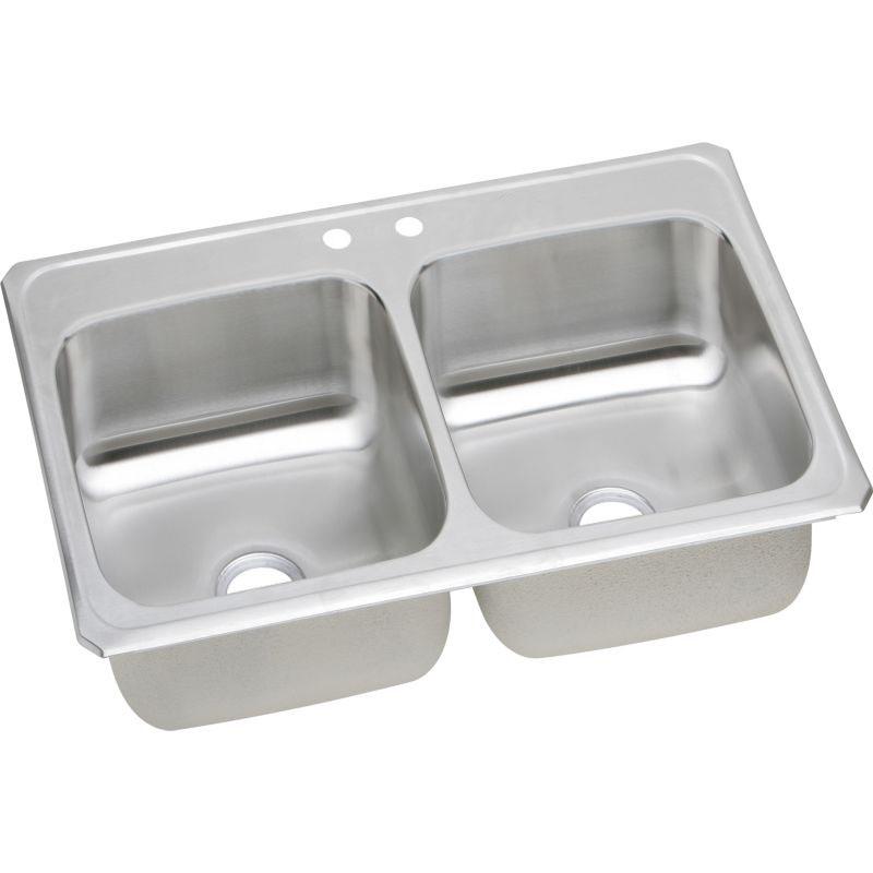 Elkay Celebrity 33-In 20 Gauge Stainless Steel Double-Bowl Drop-In Kitchen Sink