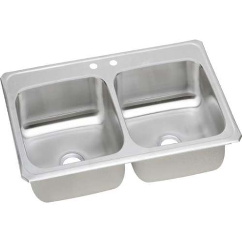 Elkay Celebrity 43-In 20 Gauge Stainless Steel Double-Bowl Drop-In Kitchen Sink