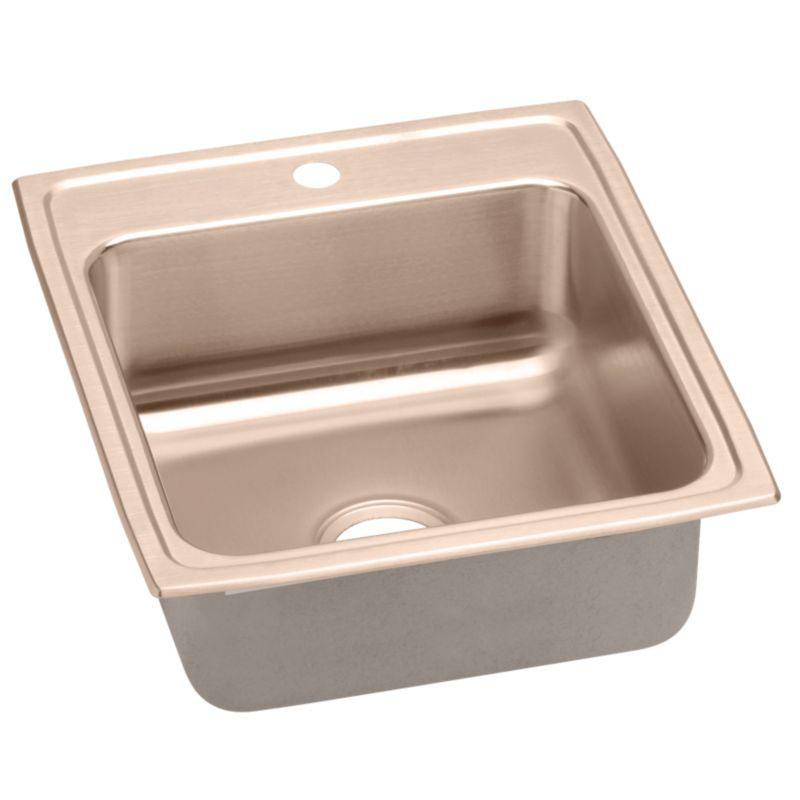 Elkay 19-1/2-In Copper 18 Gauge Single-Bowl Drop-In ADA Sink