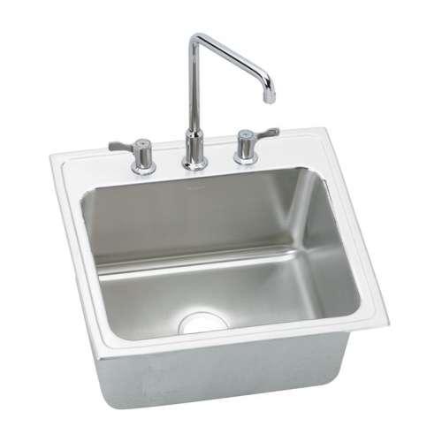 Elkay Gourmet Lustertone Stainless Steel Single-Bowl Top-Mount Sink With Faucet Kit