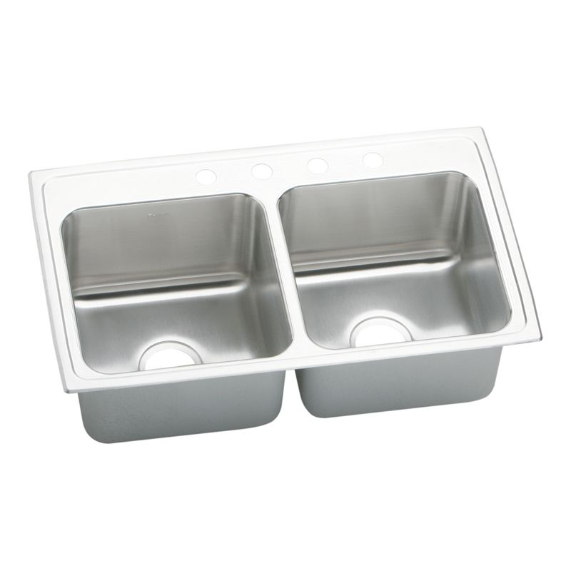 Elkay Lustertone Classic 33-In 18-Gauge Stainless Steel Double-Bowl Drop-In Kitchen Sink