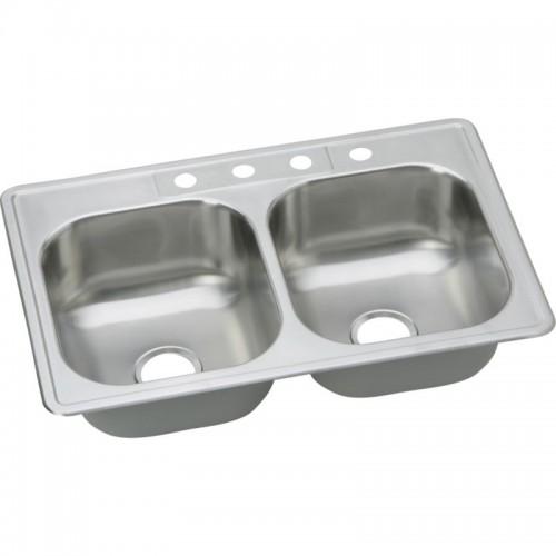Dayton Elite 33-In Stainless Steel Double-Bowl Top-Mount Sink