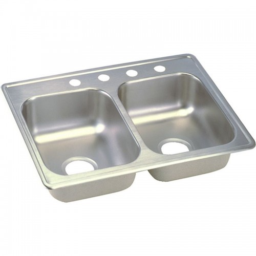 Dayton Classic 25-In Stainless Steel Double-Bowl Top-Mount Sink