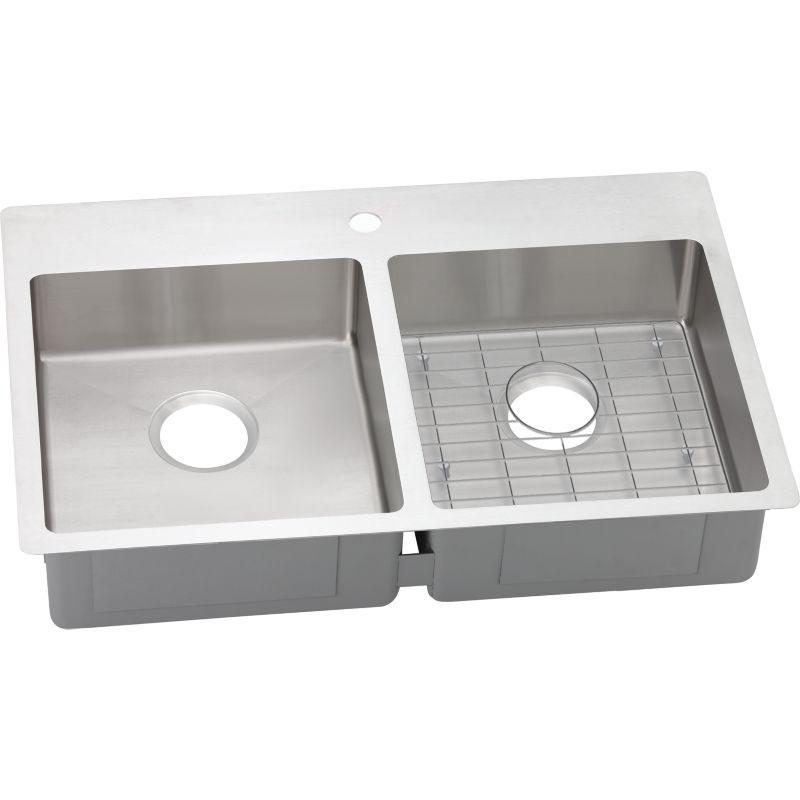 Elkay Crosstown 33-In 18 Gauge Stainless Steel Double-Bowl Dual Mount ADA  Kitchen Sink Kit 1 Faucet Hole,2 Faucet Holes,3 Faucet Holes,4 Faucet ...