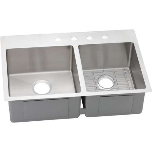 Elkay Crosstown 33-In 18 Gauge Stainless Steel Double-Bowl Dual Mount Kitchen Sink Kit