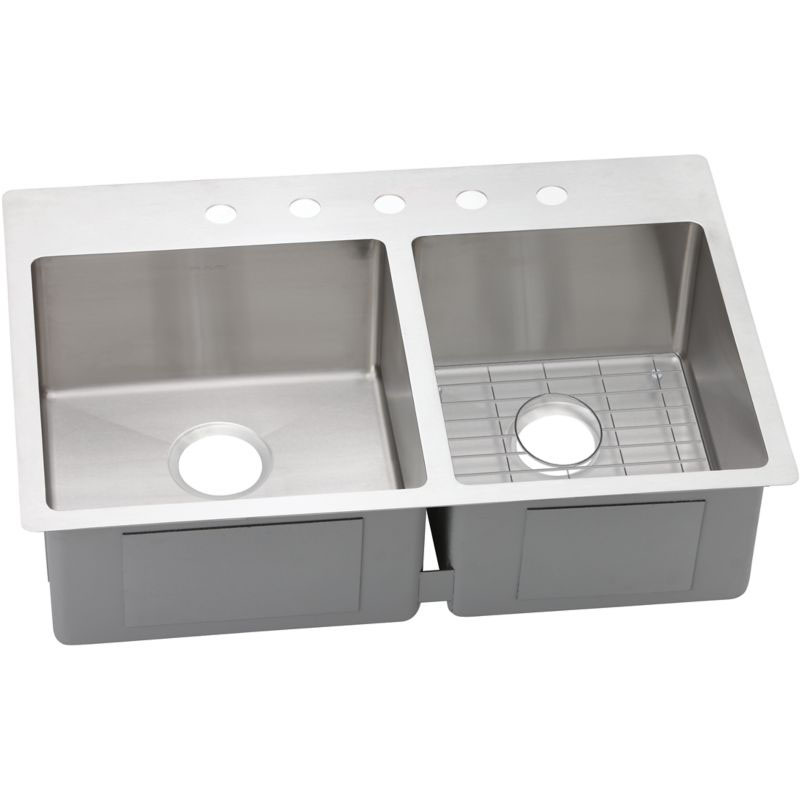 Elkay Crosstown 33-In 18 Gauge Stainless Steel Double-Bowl Dual Mount Kitchen Sink Kit