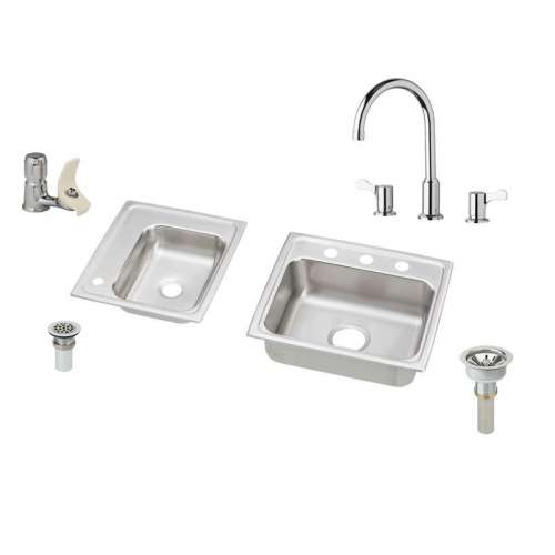 Elkay Lustertone Stainless Steel Double-Bowl Top-Mount Sink With Faucet Kit