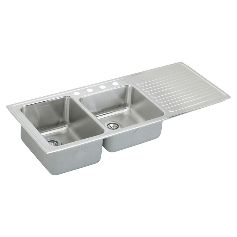 Elkay Lustertone Classic 54-In 18 Gauge Stainless Steel Double-Bowl Drop-In Sink