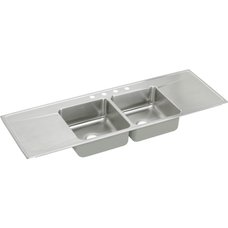 Elkay Lustertone Classic 66-In 18 Gauge Stainless Steel Double-Bowl Drop-In Sink