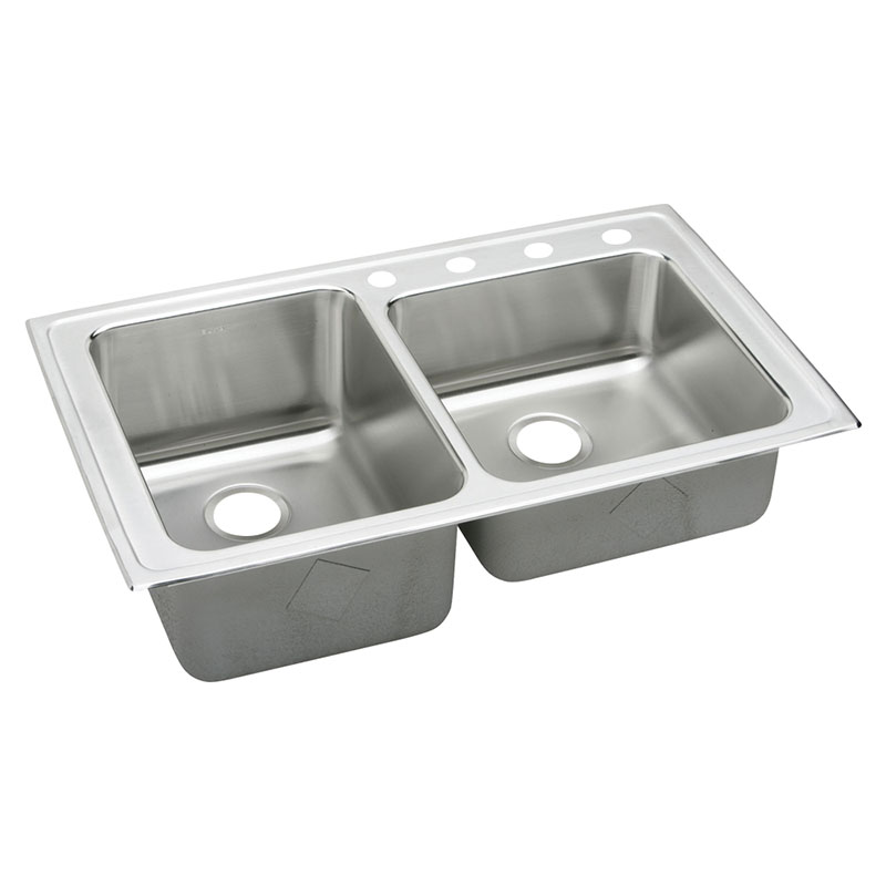 Elkay Lustertone Classic 37-In 18 Gauge Stainless Steel Double-Bowl Drop-In Sink