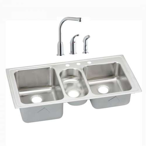 Elkay Gourmet Lustertone Stainless Steel Triple-Bowl Top-Mount Sink And Faucet Kit
