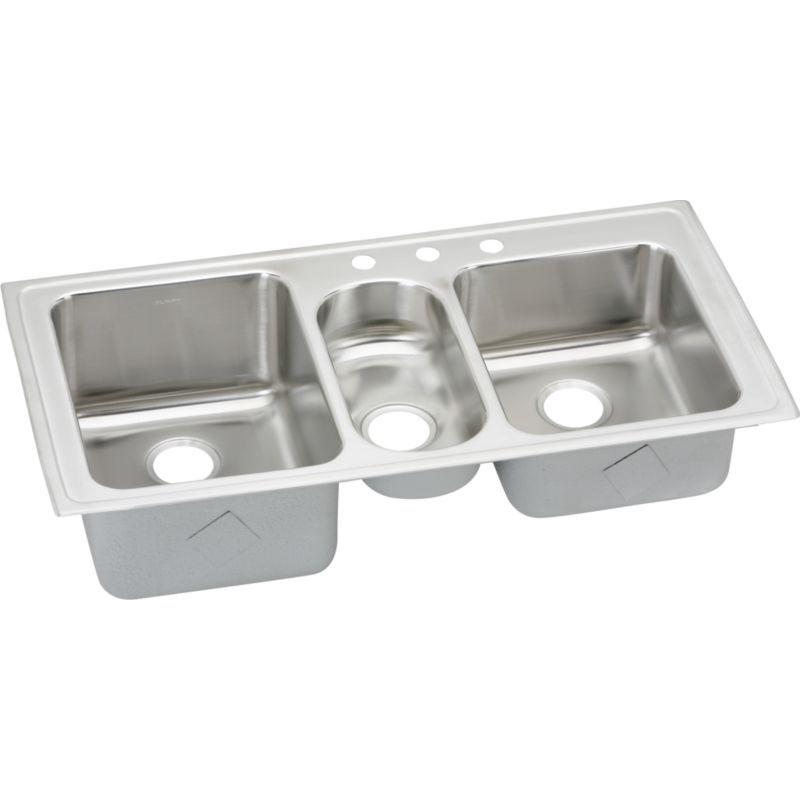 Elkay Lustertone Classic 43-In 18 Gauge Stainless Steel Triple-Bowl Drop-In Kitchen Sink