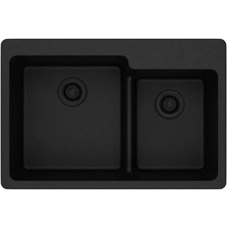 Elkay Quartz Classic 33 In Quartz Double Bowl Drop In Sink In Black