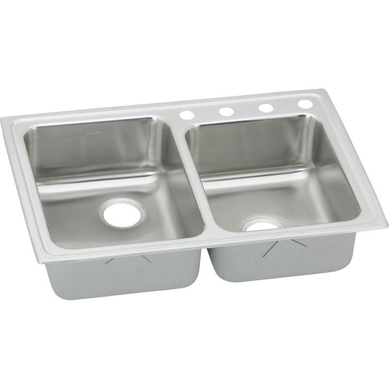 Elkay Lustertone Classic 33-In 18 Gauge Stainless Steel Double-Bowl Drop-In Sink