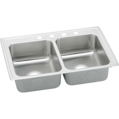 Elkay Lustertone Classic 33-In 18 Gauge Stainless Steel Double-Bowl Drop-In Kitchen Sink