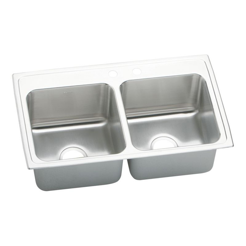 Elkay Lustertone Classic 33-In 18 Gauge Stainless Steel Double-Bowl Drop-In Kitchen Sink