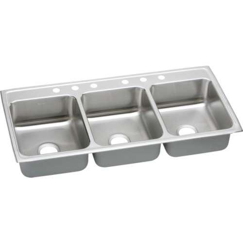 Elkay Lustertone Classic 46-In 18 Gauge Stainless Steel Triple-Bowl Drop-In Kitchen Sink