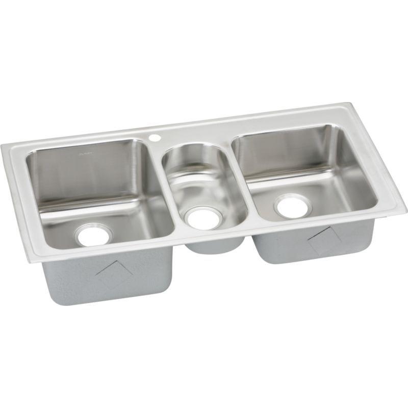 Elkay Gourmet Lustertone Stainless Steel Triple-Bowl Top-Mount Sink