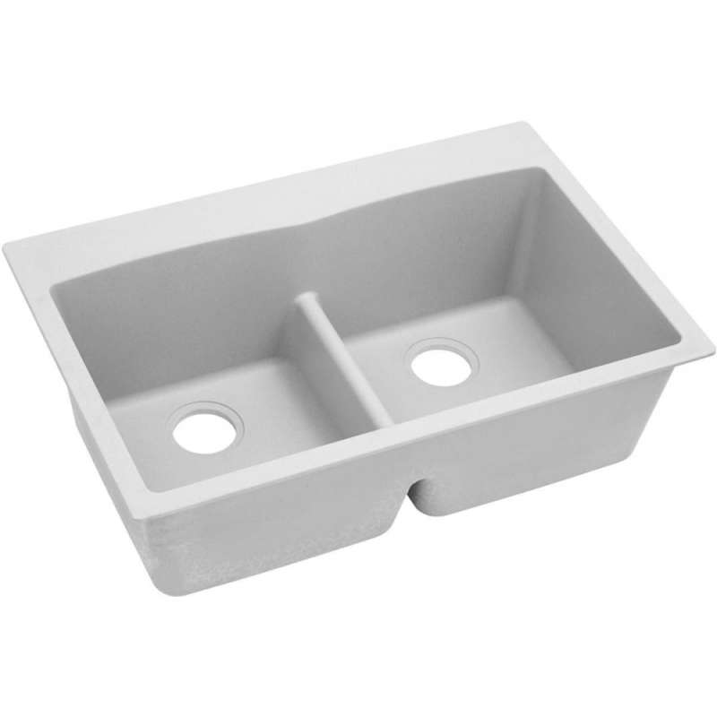 Buy Elkay Quartz Classic 33 In Double Bowl Drop In Sink In White
