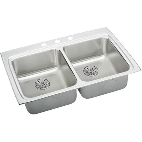 Elkay Lustertone Classic 33-In 18 Gauge Stainless Steel Double-Bowl Drop-In ADA Sink