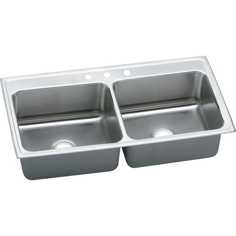 Elkay Lustertone Classic 43-In 18-Gauge Stainless Steel Double-Bowl Drop-In Kitchen Sink