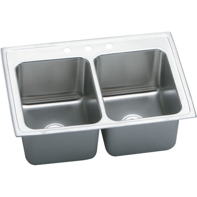 Elkay Lustertone Classic 37-In 18-Gauge Stainless Steel Double-Bowl Drop-In Kitchen Sink