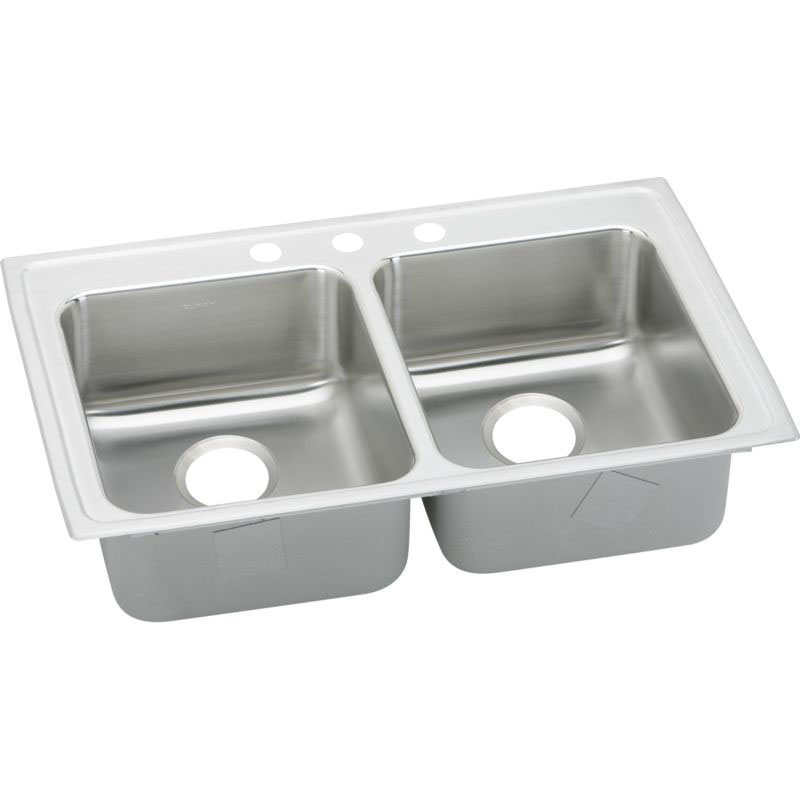 Elkay Lustertone Classic 29-In 18 Gauge Stainless Steel Double-Bowl Drop-In ADA Sink