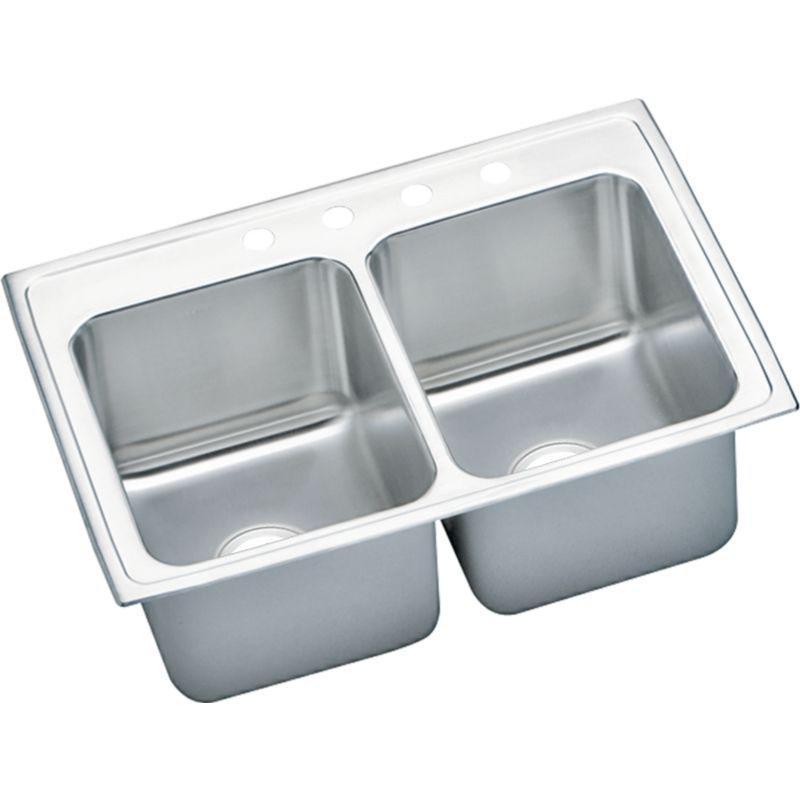 Elkay Lustertone Classic 33-In 18-Gauge Stainless Steel Double-Bowl Drop-In Kitchen Sink