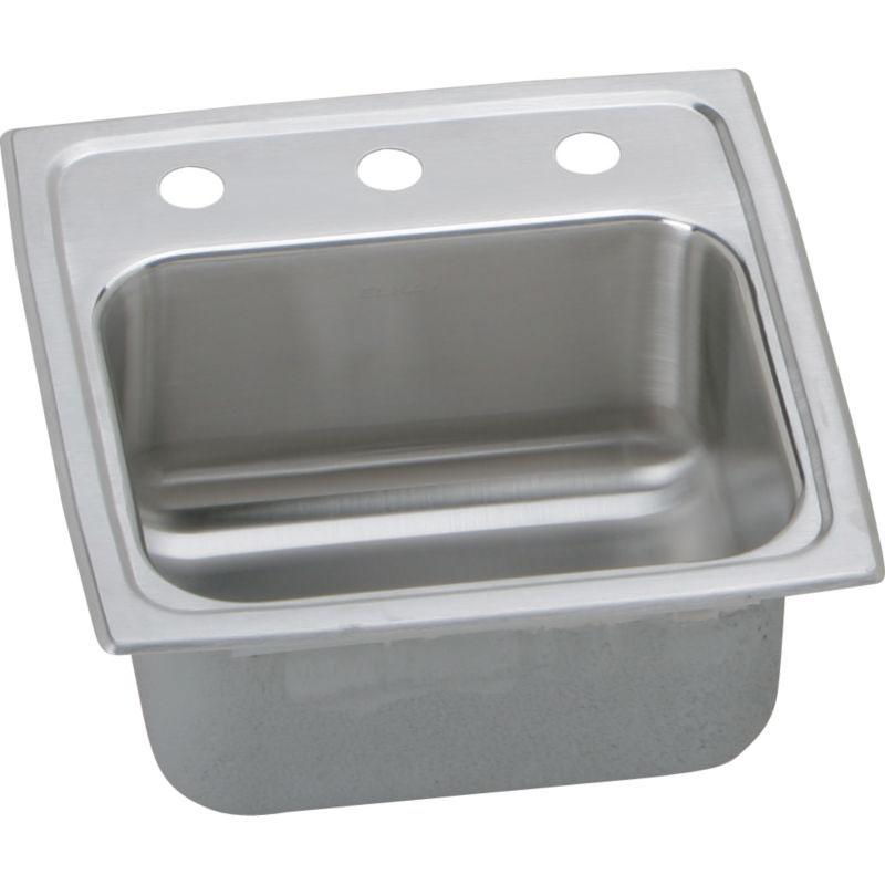 Elkay Lustertone Classic 15-In Stainless Steel 18 Gauge Single-Bowl Drop-In Bar Sink