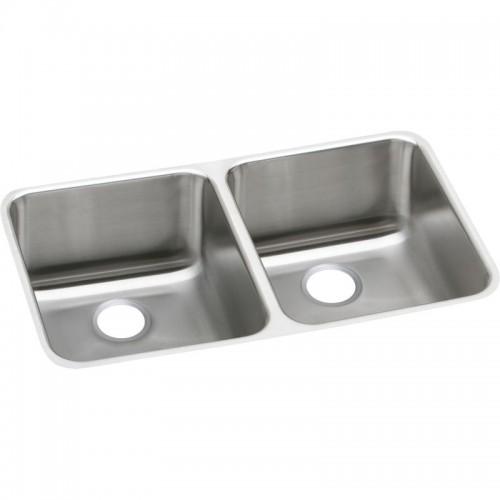 Elkay Gourmet Lustertone Stainless Steel Double-Bowl Undermount Sink