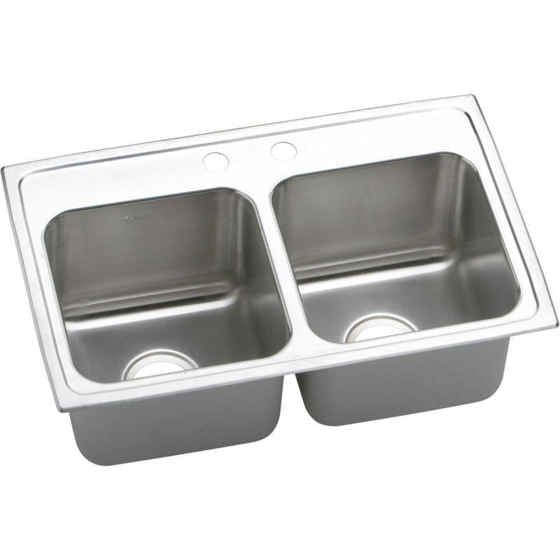 Elkay Lustertone Classic 29-In 18-Gauge Stainless Steel Double-Bowl Drop-In Kitchen Sink