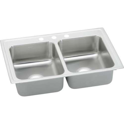 Elkay Lustertone Classic 25-In 18-Gauge Stainless Steel Double-Bowl Drop-In Kitchen Sink