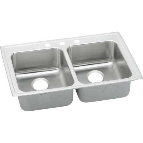 Elkay Lustertone Classic 33-In 18 Gauge Stainless Steel Double-Bowl Drop-In ADA Sink