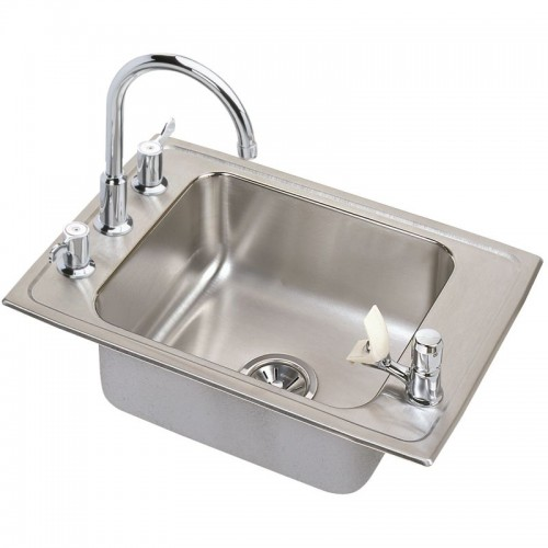 Elkay Lustertone Stainless Steel Single-Bowl Top-Mount Sink With Faucet Kit